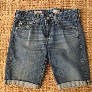 AG Jeans Nikki Shorts Cuffed Denim Blue Roll Up 27